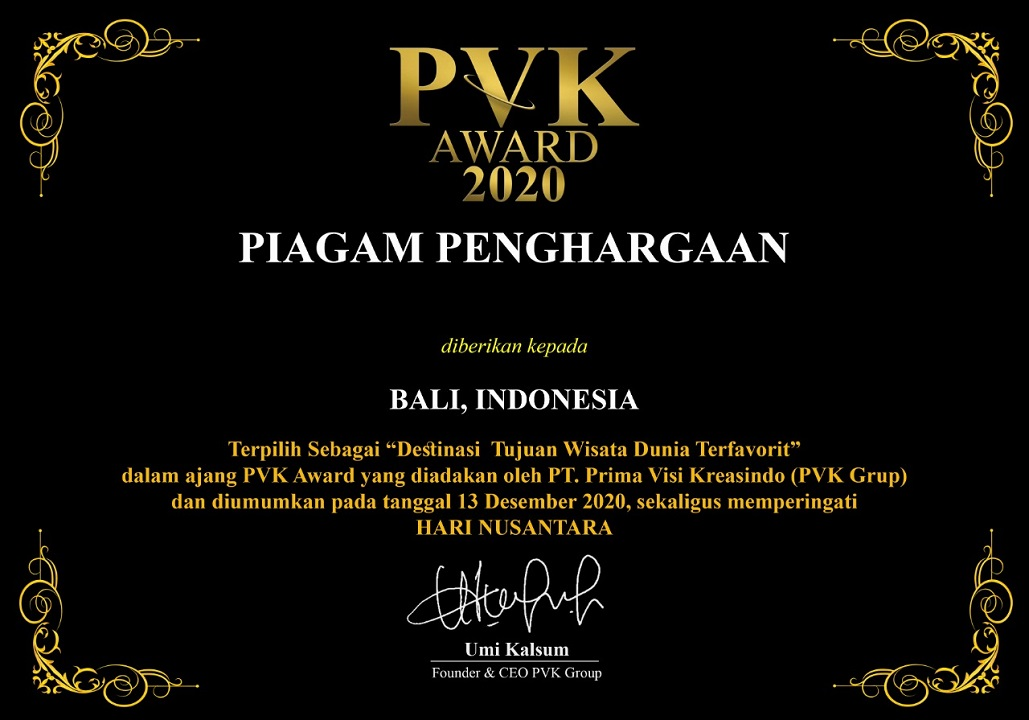 "Bali won the predicate of ""Most Favorite World Travel Destination"" at the 2020 PVK Award"